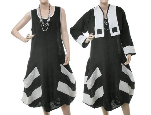 Lagenlook baloon dress + short jacket, linen in black white S-M