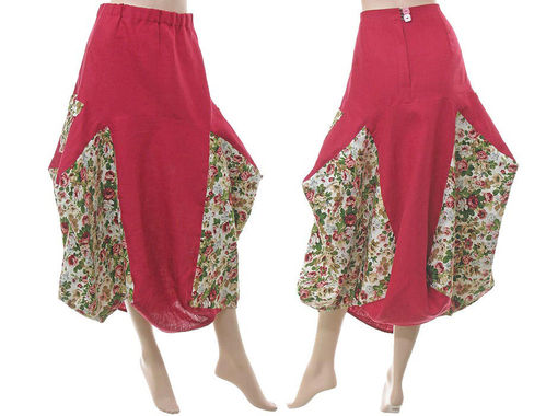 Lagenlook linen balloon parachute skirt with roses, in raspberry red L