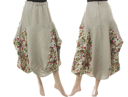 Lagenlook linen balloon parachute skirt with roses, in beige M-L