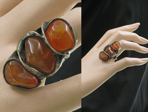 Lagenlook unique handmade ring - 3 carnelians