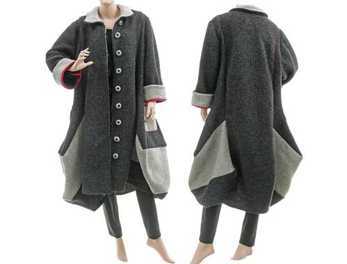 Lagenlook bulgy balloon coat boiled wool in dark grey and grey M-L