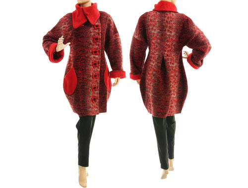 Lagenlook fall winter balloon coat, boiled wool red grey S