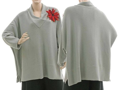 Lagenlook batwing sweater Cilia V-neck merino in stone M-XXL