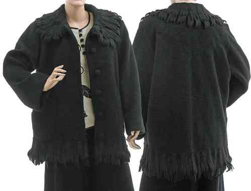 Lagenlook artsy boho jacket / coat boiled wool in black L-XL