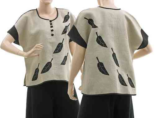 Lagenook tunic top with leaves, linen nature black S-M