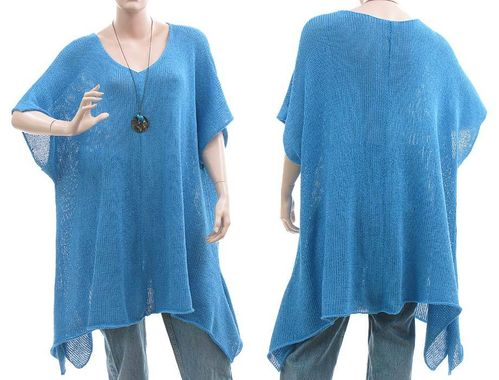 Lagenlook knitted A-line sweater tunic Emily, cotton mix in blue L-XXL
