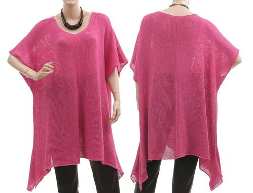 Lagenlook knitted A-line sweater tunic Emily, cotton mix in pink L-XXL