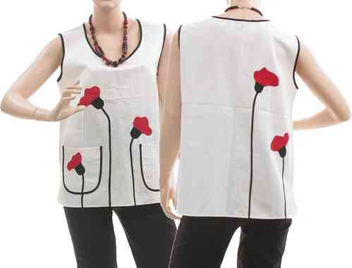 Lagenlook boho tank top with poppy flowers, linen white S-M