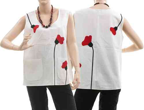 Lagenlook boho tank top with poppy flowers, linen white M