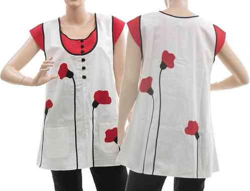 Lagenlook tunic top with poppy flowers, linen white S-M