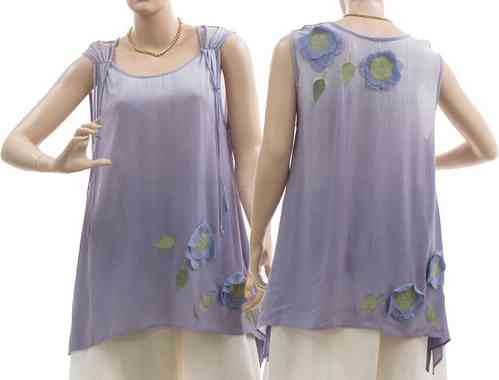 Lagenlook flared tank top flowers leaves, viscose in purple S-M