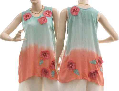 Lagenlook tank top flowers leaves, viscose mint apricot S-M