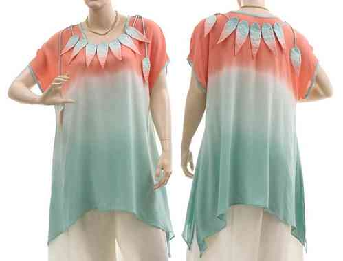 Lagenlook flared tunic with leaves turquoise apricot S-L