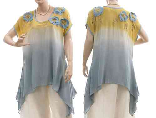 Lagenlook flared tunic with flowers and leaves, blue yellow M-L