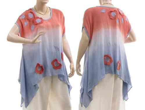 Lagenlook flared tunic with flowers and leaves, blue apricot S-M