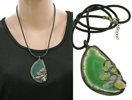 Lagenlook unique handmade necklace - agate green