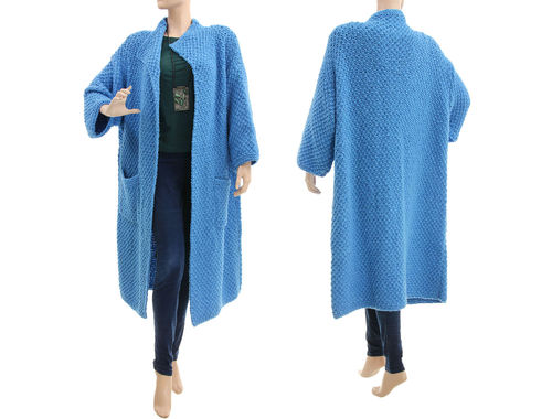 Blue chunky knit coat, hand knitted merino cashmere M-XXL