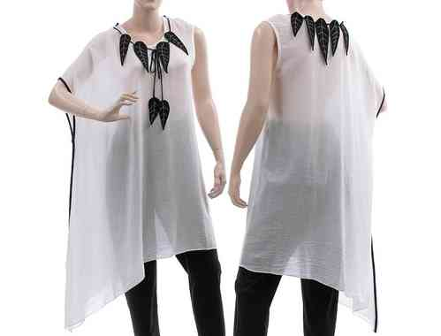 Lagenlook asymmetrical tunic with black leaves, viscose white S-L