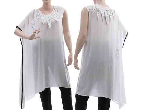 Lagenlook asymmetrical tunic with white leaves, viscose white S-L