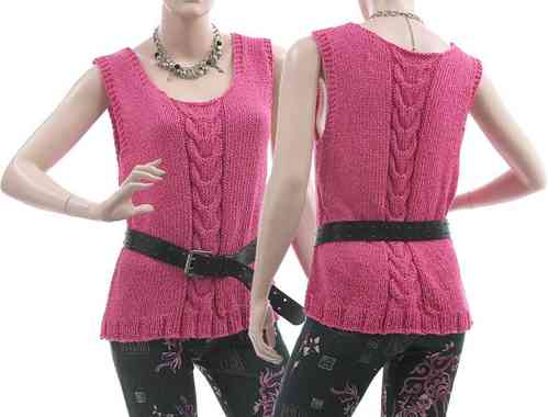 Lagenlook hand knitted cabled tank top Jule, cotton mix in pink S-L