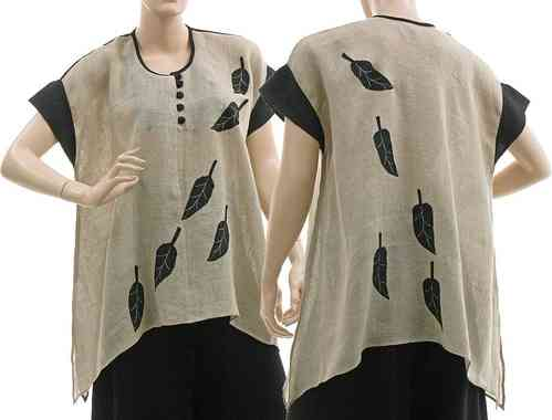 Flared lagenook tunic with leaves, linen gauze nature black M-L
