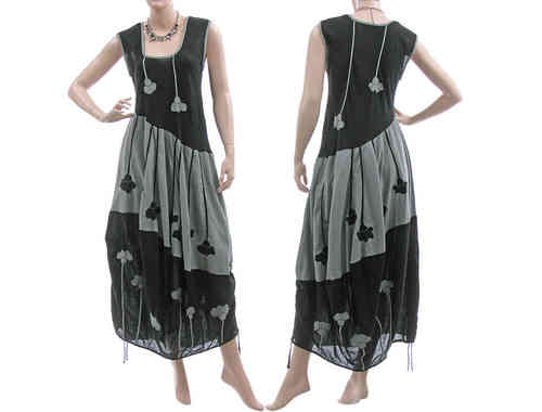 Artsy boho balloon dress with flowers crinkle cotton in black grey S-M