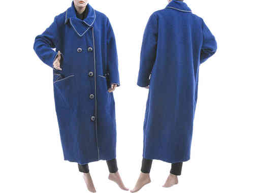 Lagenlook puristic long coat boiled wool cobalt blue L-XL