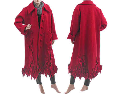 Lagenlook artsy long coat with leaves, boiled wool red L-XL