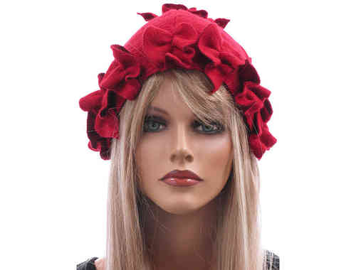 Boho lagenlook hat cap with leaves boiled wool in red L-XL