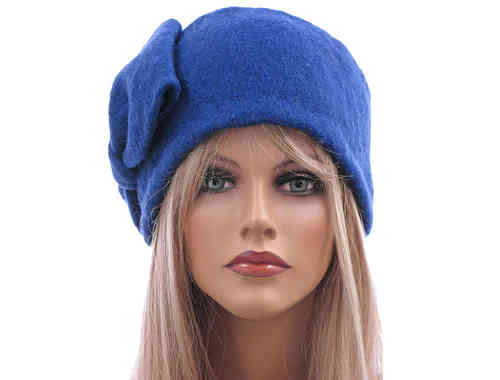 Boho lagenlook hat cap with bow boiled wool in cobalt blue L XL