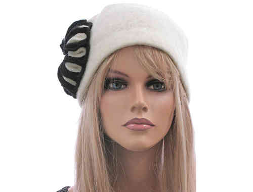 Boho artsy hat cap with large flower, boiled wool in off white M-L