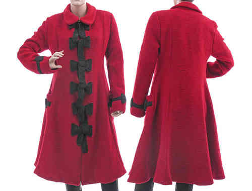 Artsy bell shaped coat boiled wool with bows, red grey M-L