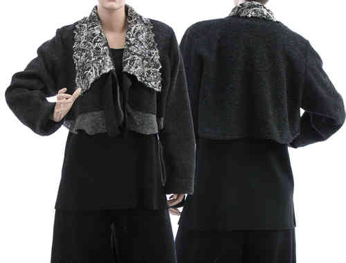 Artsy shrug, short bolero jacket, boiled wool black L-XL