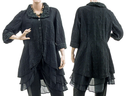 Fancy embroidered silk jacket blouse in black S-M