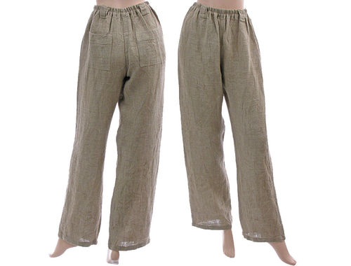 Lagenlook long wide legs pants, linen in nature S-M