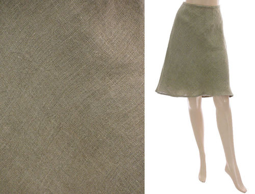 Lagenlook flared knee-length skirt, linen in nature S-M