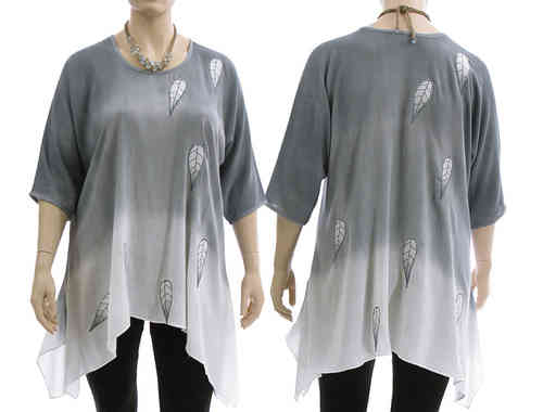 Lagenlook boho flared tunic, bluish grey + white L-XL
