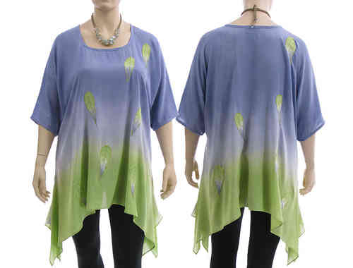 Lagenlook boho flared tunic, lilac with green L-XXL