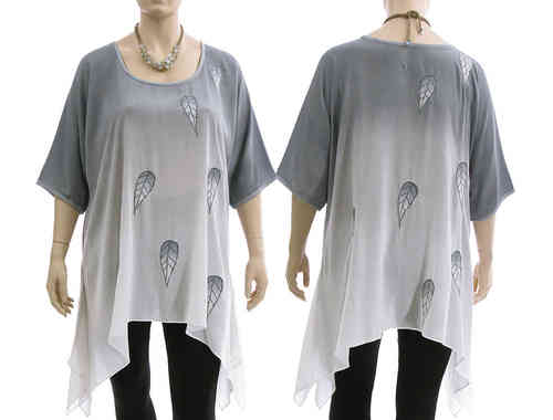 Lagenlook boho flared tunic, bluish grey white XL-XXL