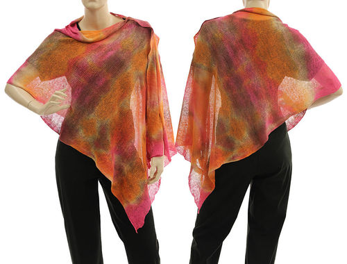 Lagenlook knit linen poncho wrap top in orange pink brown S-XL
