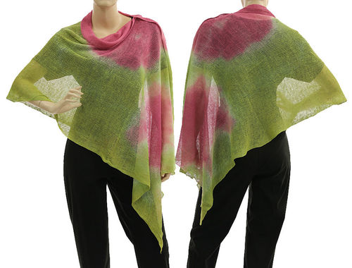 Lagenlook knit linen poncho wrap top in green with pink S-XL