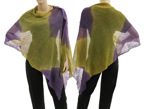 Lagenlook knit linen poncho wrap top in green with purple S-XL