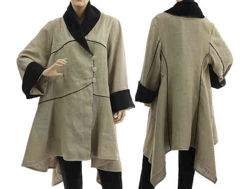 Boho lagenlook flared pointed linen coat jacket in nature M-L