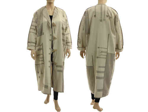 Lagenlook boho artsy maxi coat, linen / silk  in ecru nature L-XXL