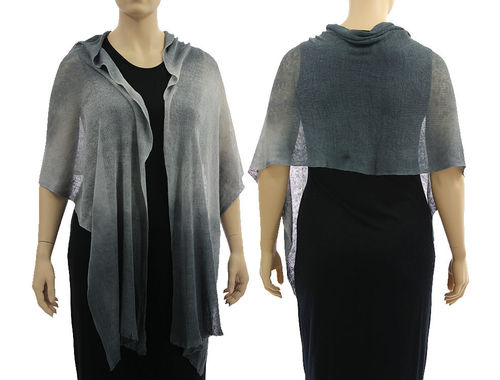 Lagenlook knit linen scarf shawl wrap in grey shades S-XL