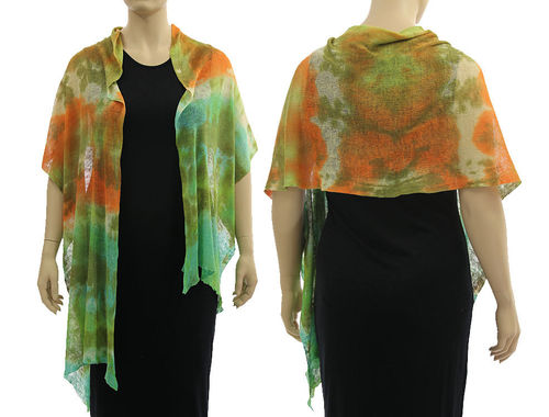 Lagenlook knit linen scarf shawl wrap in green orange S-XL