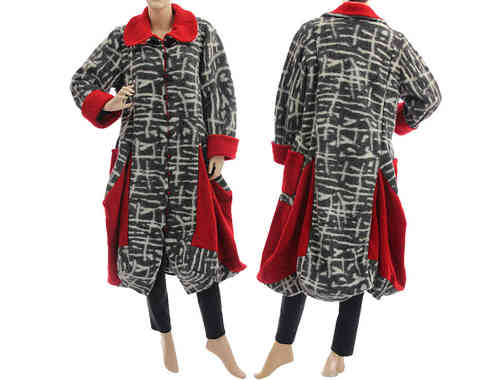 Lagenlook handmade bulgy coat boiled wool grey white red M-L