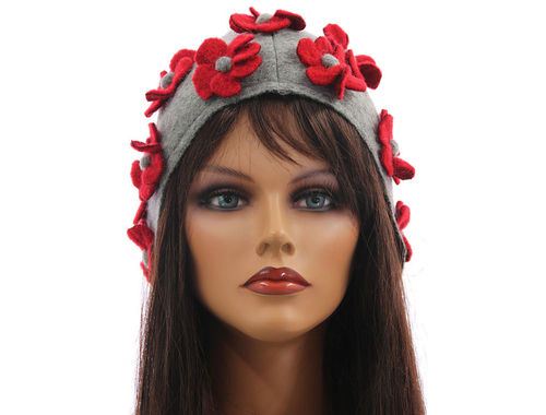Boho lagenlook hat cap with flowers boiled wool grey red M-XL