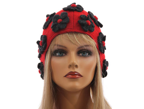 Boho lagenlook hat cap with flowers, boiled wool red grey M-XL