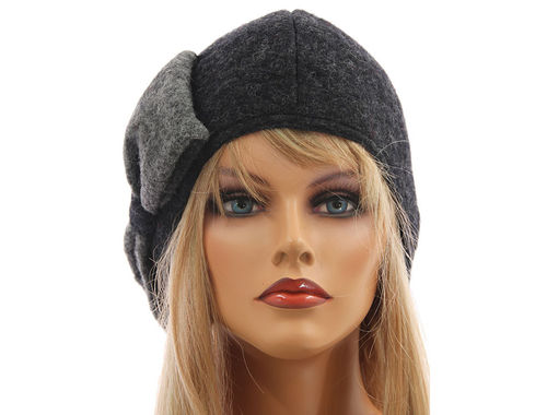 Boho lagenlook hat cap with bow boiled wool in grey shades S-L